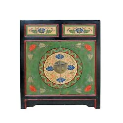 Chinese Distressed Green Floral Graphic Console Table Cabinet cs4964