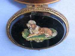 Antique Lowchen Poodle Micro Mosaic Dog Jewelry Box