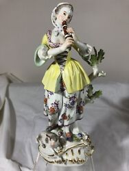 Antique Lg Meissen Figurine A Girl With Flute And Sheep 230 9.75