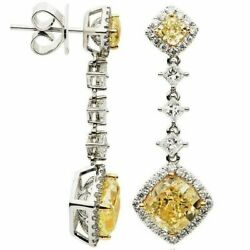 ESTATE LARGE 8.60CT WHITE & FANCY YELLOW DIAMOND 18K TWO TONE GOLD LOVE EARRINGS