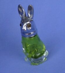 Rabbit Green Glass Shaker Silver Top 3 Easter Depression