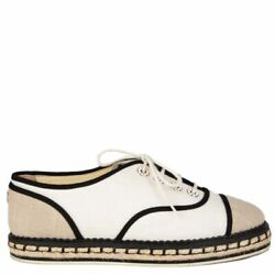 55572 Auth Oatmeal And Off-white Canvas Lace-up Espadrilles Flats Shoes 37