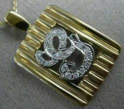 Estate .30ct Diamond 14kt White And Yellow Gold G Initial Shield Pendant 17157
