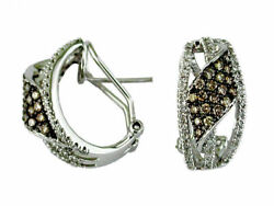 .86ct White And Mocha Diamond 14kt White Gold 3d Pave 3 Row Leaf Clip On Earrings