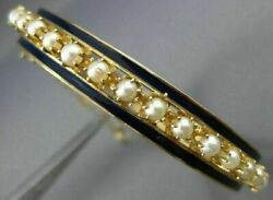 Antique Victorian Aaa Pearl And Blue Enamel 14k Yellow Gold Bangle Bracelet 20957