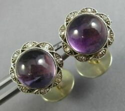 Antique Large 4.2ct Old Mine Diamond And Aaa Amethyst 14kt White Gold 3d Cufflinks
