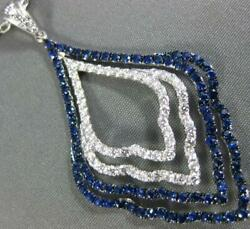 Large 2.03ct Diamond And Aaa Sapphire 18kt White Gold Multi Row Tear Drop Necklace