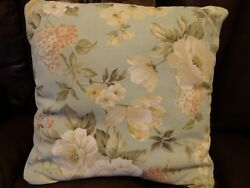 15quot; SQUARE COTTAGE COUNTRY CHIC FLORAL THROW PILLOW AQUA CREAM