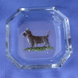 ART DECO SCOTTISH TERRIER CRYSTAL SALT CZECHOSLOVAKIA HOFFMAN MARK SCOTTY DOG