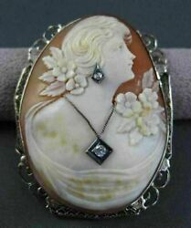 Antique Large Old Mine Diamond 14kt 2tone Gold Filigree Cameo Brooch Pin 23066