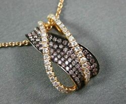 Large .75ct White And Pink Diamond 18kt Rose And Black Gold Criss Cross Wave Pendant