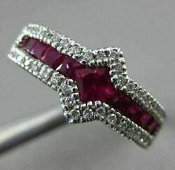 Estate 1.57ct Diamond And Aaa Ruby 18kt White Gold 3d Sideways Square Promise Ring