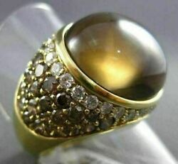 Estate Massive 22.27ctw Fancy Diamond And Aaa Smoky Topaz 18kt Yellow Gold Ring