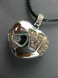 Estate Large .25ct White And Pink Diamond 18kt White Gold 3d Love Heart Pendant