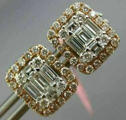 Estate Large 1.16ct Round And Baguette Diamond 18k White And Rose Gold Stud Earrings
