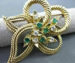 Antique Large .75ct Diamond And Emerald 14k Yellow Gold 3d Flower Leaf Design 2412