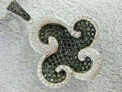 Large 1.97ct White And Black Diamond 18kt White Gold Flower Wave Pendant And Chain