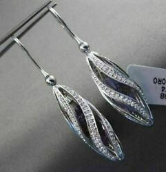 Antique Large 6.72ct Diamond Amethyst 14k White Gold 3d Spiral Hanging Earrings