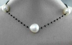 Estate Large And Long 18kt White Gold 3d Pearl And Black Spinal By The Yard Necklace
