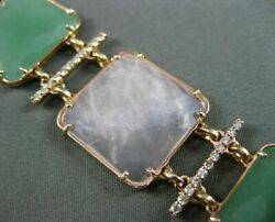 Estate Wide And Long 1.45ct Diamond And Aventurine 14kt Rose Gold 3d Square Bracelet