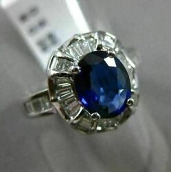 Estate Wide 2.32ct Diamond And Sapphire 18k White Gold 3d Filigree Engagement Ring