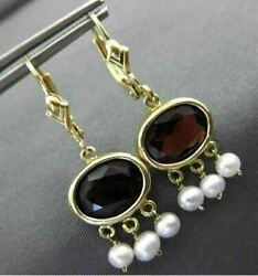 Estate 3ct Aaa Garnet And South Sea Pearl 14kt Yellow Gold 3d Chandelier Earrings