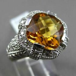 Antique Wide 3.96ct Diamond And Aaa Extra Facet Citrine 14k White Gold 3d Fun Ring