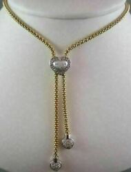 Estate Heart .40ct Diamond Lariat Drop Twotone Gold Necklace F Vs One Of A Kind
