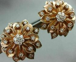 Estate Large 1.47ct Diamond 18k Rose Gold 3d Flower Handcrafted Clip On Earrings