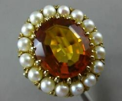 Antique Large 10ct Aaa Citrine And South Sea Pearl 14kt Yellow Gold 3d Flower Ring