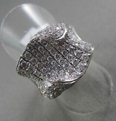 Antique 18kt Wide Wavy Look 2.35ct Diamond White Gold Ring Special