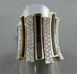 Antique Wide 1.40ct Diamond And Onyx 18kt White And Rose Multi Row Ring 0xrg5726t-a