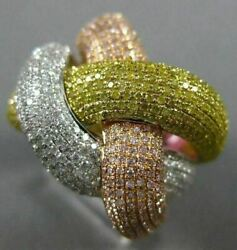 EXTRA LARGE 2.18CT MULTI COLOR DIAMOND 18KT TRI COLOR GOLD 3D CRISS CROSS RING