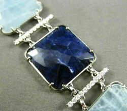 Estate Wide And Long 1.45ct Diamond And Multi Gem 14kt White Gold 3d Square Bracelet