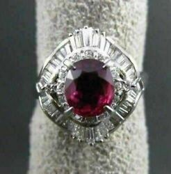 Antique Large 2.2ct Diamond And Aaa Ruby Platinum Filigree Ballerina Cocktail Ring