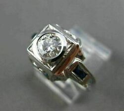 Antique Wide .85ct Aaa Sapphire And Diamond 18kt White Gold Filigree Ring 20678