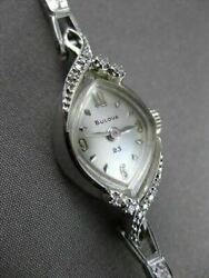 Antique .15ct Old Mine Diamond 14kt White Gold Bulova Marquise Face Watch 2198