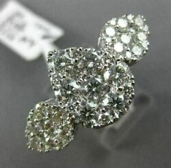 ESTATE LARGE 3.15CT DIAMOND 18KT WHITE GOLD 3D PAVE PEAR SHAPE CLUSTER FUN RING