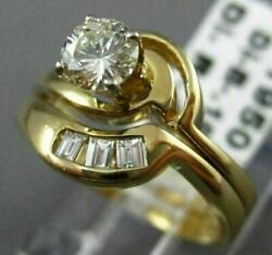 Estate .59ct Round And Baguette Diamond 14kt Two Tone Gold 3d Engagement Ring 240