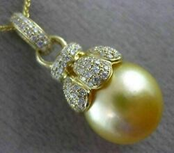 Large .60ct Diamond And Aaa Golden South Sea Pearl 18kt Yellow Gold Flower Pendant