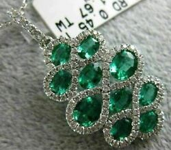 Estate Large 2.12ct Diamond And Aaa Emerald 18k White Gold Flower Floating Pendant