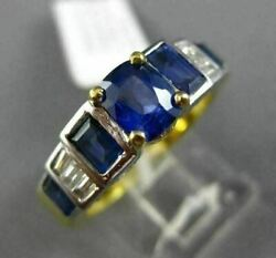 Estate 2.46ct Diamond And Sapphire 18kt Two Tone Gold 3d Filigree Engagement Ring