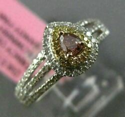 Estate Large Gia .59ct Diamond 18kt Tri Color Gold 3d Pear Halo Engagement Ring