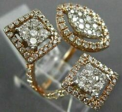Estate Large 1.39ct Diamond 14kt Rose Gold 3d Cluster Square Marquise Fun Ring