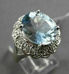 Antique Large 3.77ctw Diamond And Aaa Aquamarine 14kt White Gold Cocktail Ring