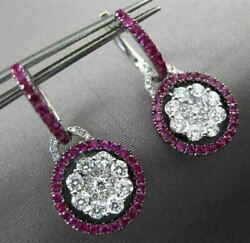Antique 1.53ct Pink Sapphire And Diamond 18kt White Gold Flower Hanging Earrings