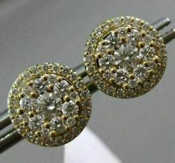 Estate Large .77ct Round Diamond 18kt Yellow Gold 3d Cluster Halo Stud Earrings