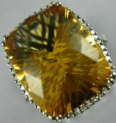 Extra Large 10.41ct Diamond And Aaa Citrine 14kt White And Black Gold Filigree Ring