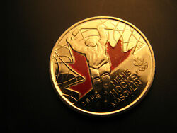 Canada 2009 Vancouver 2010 Olympics Menand039s Hockey Coloured 25 Cent Coin.