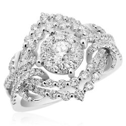 18k White Gold Pave Cluster Diamond Right Hand Cocktail Ring Halo Statement